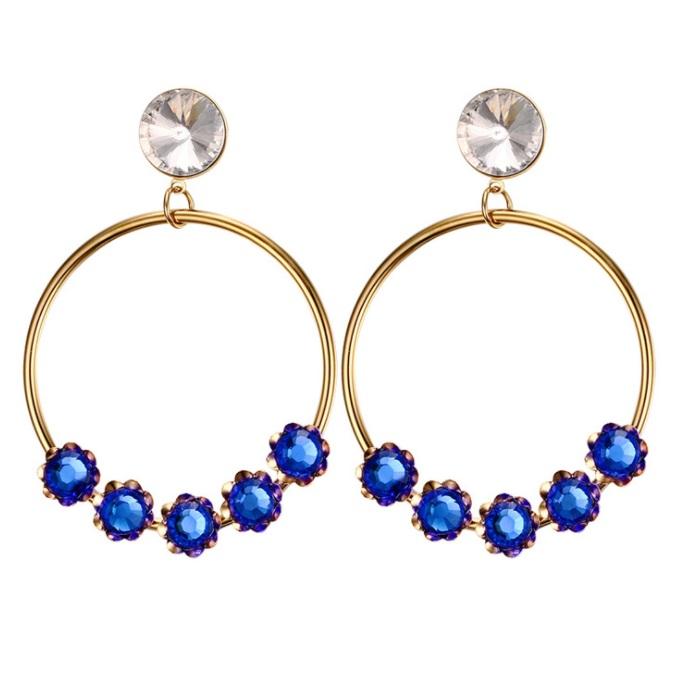 c284b9a5e Blue Gems Ball Circle Stud Hoops Earring WE-028 | Womandilax™ | Shop Women's  Jewelry Set & Fashion Accessories