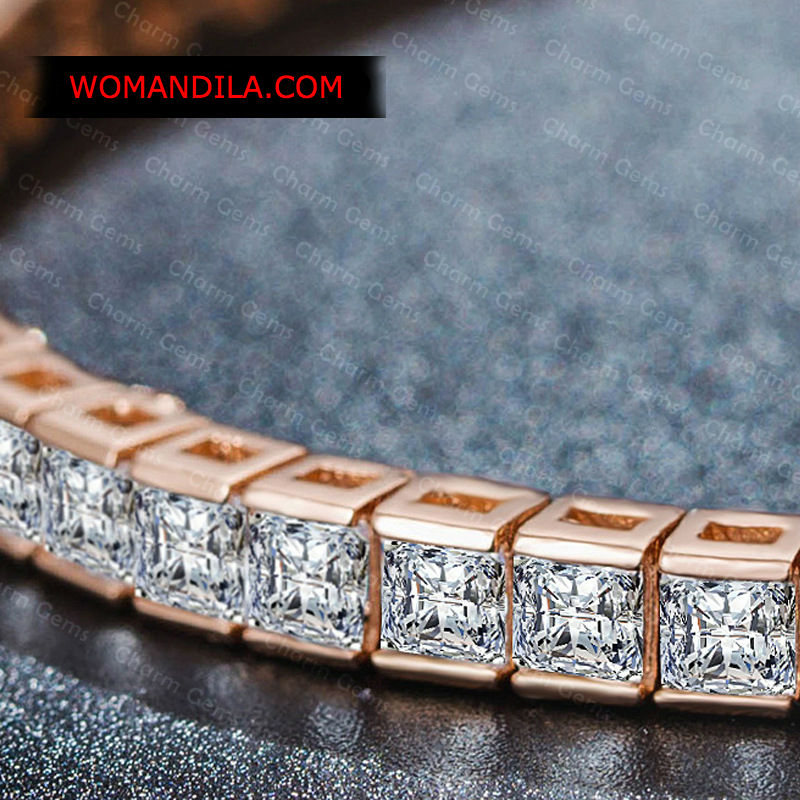 5d17e78ccb4a7 Rose Gold Swarovski Princess Cut Diamond Tennis Bracelet BR-039