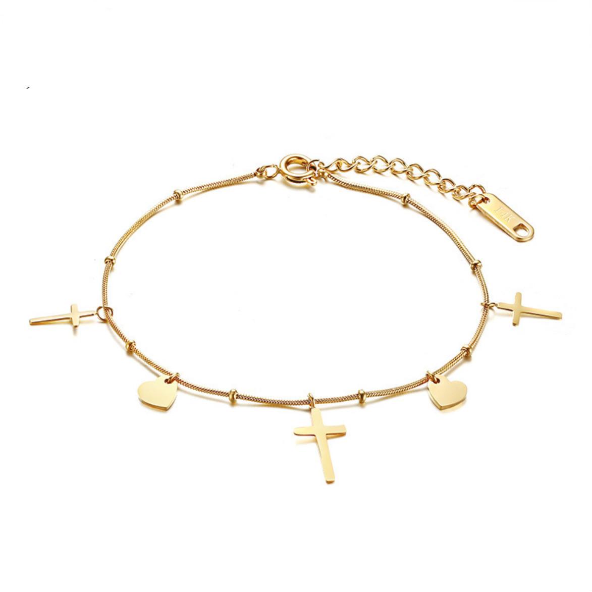 81aaf36e05 Dracula Bone Cross x Heart Bracelet BR-061 | Womandilax™ | Shop Women's  Jewelry Set & Fashion Accessories