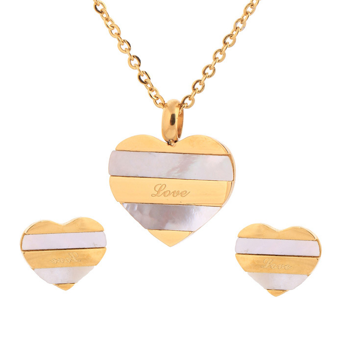 Hearty Heart Dual tone Necklace & Earring Jewelry Set JS-030
