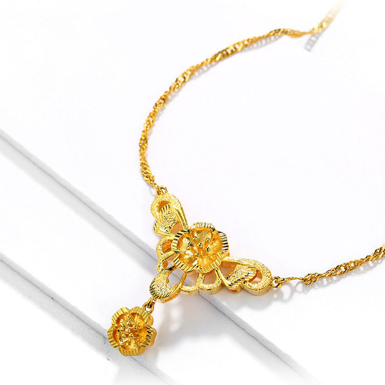 Zavera Floral Malaysia Gold Necklace For Ladies Pn 062